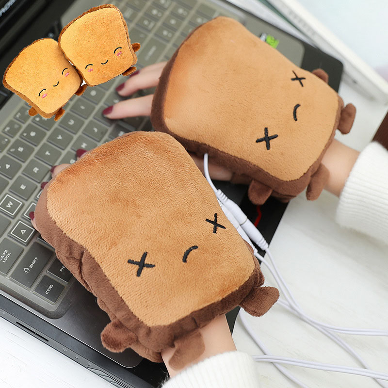 Heated-Gloves Hand-Warmers Fingerless Toast-Shape Winter New-Year Cute Christmas-Gift