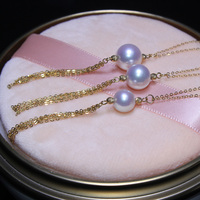 925 de plata real natural grande CANOCINDY/Kano Cindy G18k gold Akoya agua de mar de perlas collar largo, mucho dinero para enviar un certificado