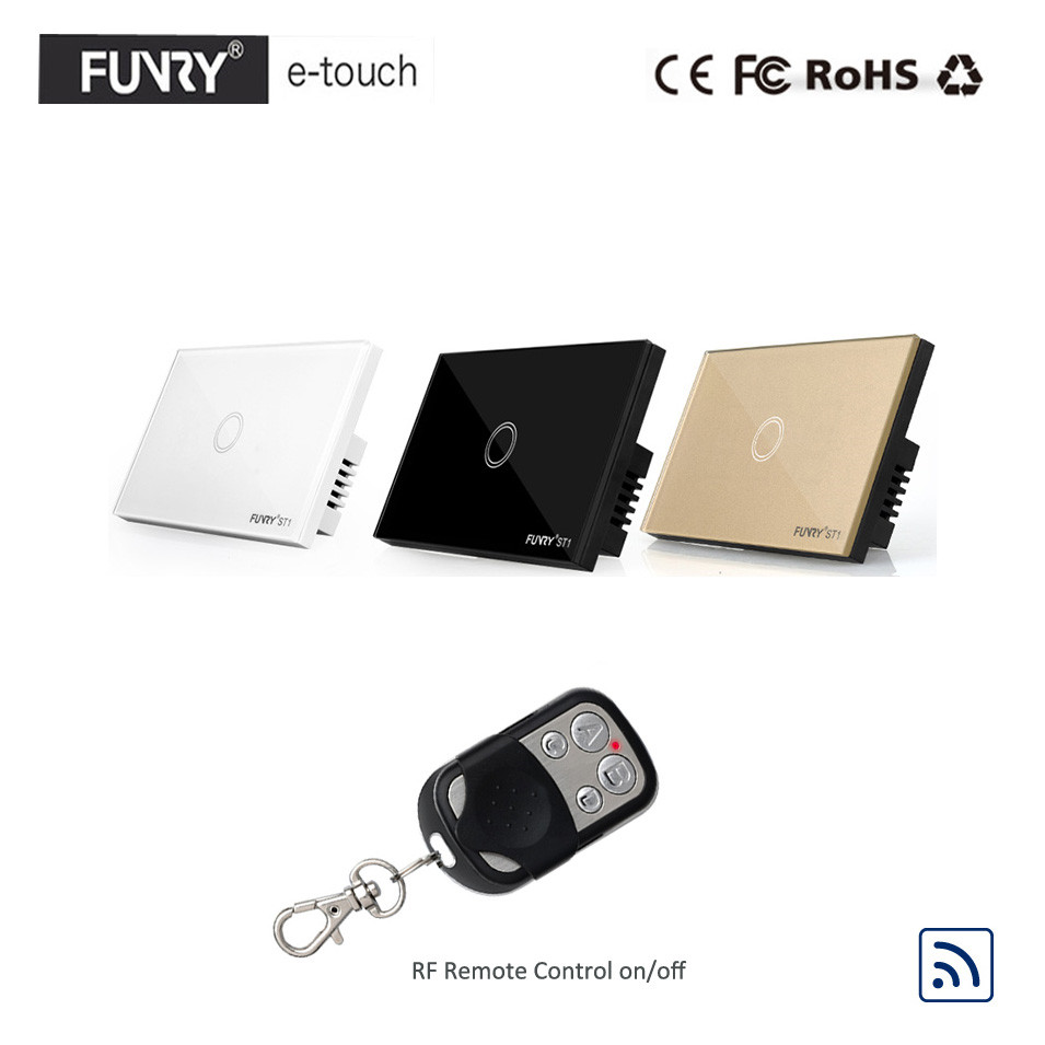 Funry US/AU Standard,Luxury Crystal Glass Panel Touch Light Switch, 1 Gang 1 Way RF433 Remote Switch, Wall Switch for Smart Home us standard smart home touch switch 1 gang 1 way white crystal glass panel light switch wall switch