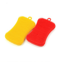 1PC Silicone Dish Washing Sponge Scrubber Kitchen Cleaning Antibacterial Tool Bowl Magic Brush Scouring Pad LB 368