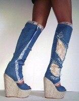 Woman platform wedge boots denim blue lace flower knee high boots sexy open toe cutouts sandal boots summer high heel boots