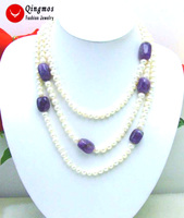 Qingmos Natural Freshwater White Pearl Necklace for Women with 6mm Round Pearl 60 Long Necklace Baroque Purple Amethysts Stone