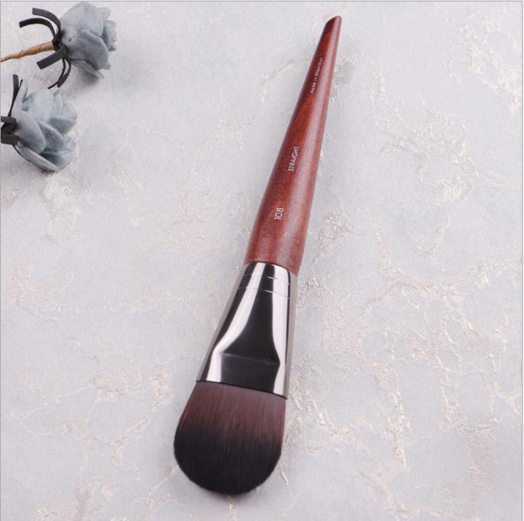 Professional Facial Mask Brush Wood Handle Tongue Shape Flat Firm Fiber Liquid Foundation Brush BB Cream Makeup Brush