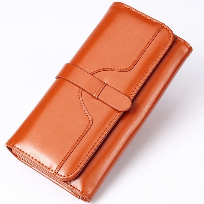 2016 Vintage 100% Oil Wax Leather Wallet Women Genuine Leather Brand High Quality Long Ladies Leather Wallets Phone Money Cards girl