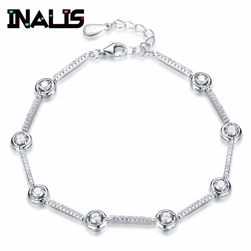 INALIS New Arrival Delicate Link Chain Bracelet S925 Sterling Silver Micro Paved Tiny CZ Crystal Stone Bangle for Women JewelryINALIS New Arrival Delicate Link Chain Bracelet S925 Sterling Silver Micro Paved Tiny CZ Crystal Stone Bangle for Women Jewelry