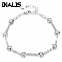 INALIS New Arrival Delicate Link Chain Bracelet S925 Sterling Silver Micro Paved Tiny CZ Crystal Stone Bangle for Women Jewelry
