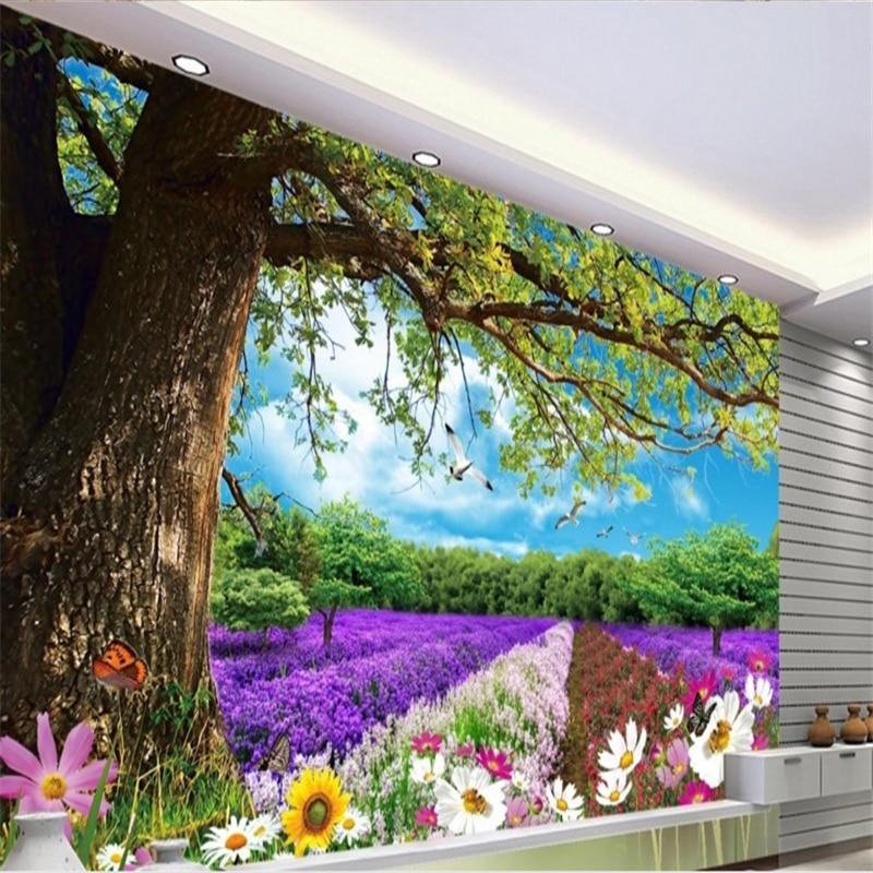 Beibehang Large - Scale Custom Wallpaper Beautiful Tree Flowers Dream Landscape 3D Landscape Background Wall Papel Parede