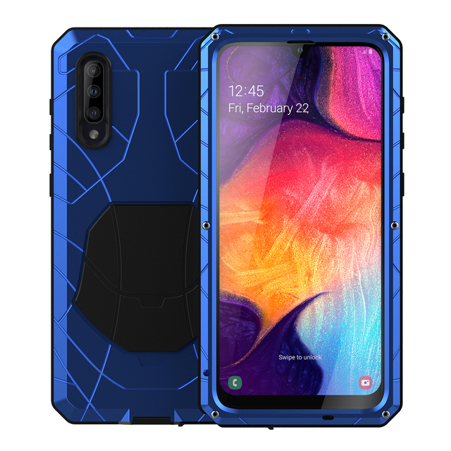 For Samsung Galaxy A50 A51 M51 Phone Case Hard Aluminum Metal with Tempered Glass Cover Silicon Cover For Galaxy A71