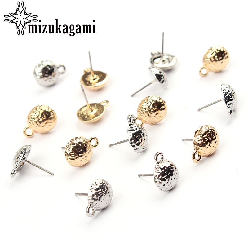 10mm 10pcs/lot Zinc Alloy Gold Silver Semicircle Earrings Base Connectors Linkers For DIY Earrings Jewelry Finding Accessories