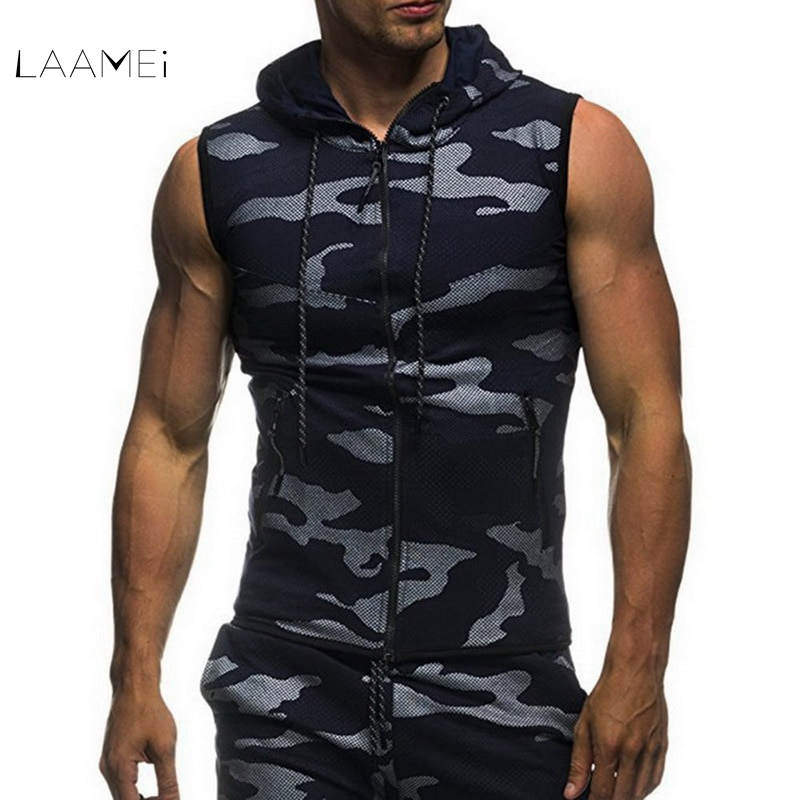 Laamei Vest Men   Tank     Tops   Shirt Sleeveless Hooded Bodybuilding Clothing Fitness Gyms   Tank     Tops   Camouflage Vest Undershirt