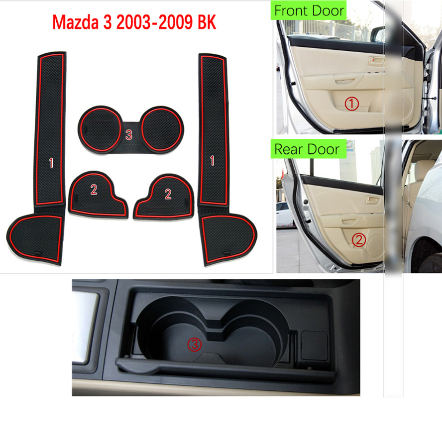 Image 3 - Anti Slip Mat For Mazda 3 BK 2003 2004 2005 2006 2007 2008 2009 MK1 MPS Gate Slot Coaster Anti Dirty Door Groove Mat 5 PCS-in Anti-Slip Mat from Automobiles & Motorcycles
