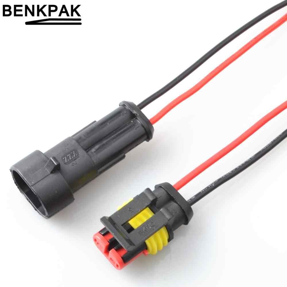 2 Pin Way Sealed wodoodporna złącze przewodu elektrycznego zestaw wtyczek automatyczne złącza z kablem