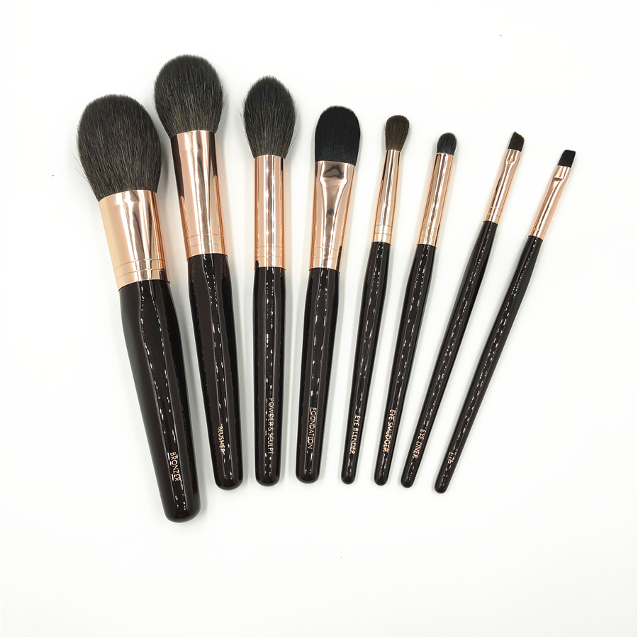CT Marque 8 pcs Maquillage Brosses Ensemble Haut de gamme Chèvre Écureuil Cheveux Doux Bronzer Poudre Blush Brosse Eye Blender Smudger eyeliner Brosse