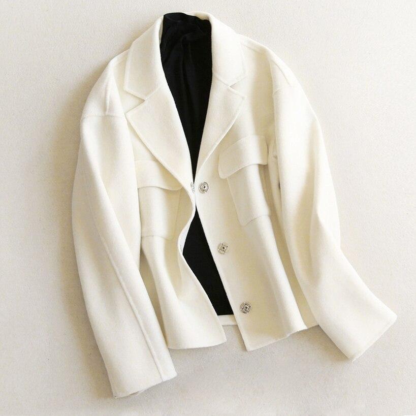 Женский шерстяной жакет; короткая куртка; осенне зимняя куртка с отложным воротником; свободное Однотонное шерстяное пальто s xl