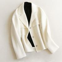 Women Woolen Jacket Short Coat Autumn Winter Turn down Collar Loose Solid Woolen Blends Coat S XL