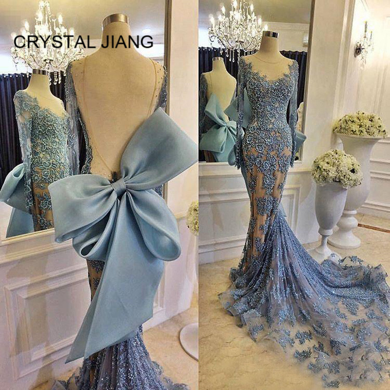 2b44dec150d6 CRYSTAL JIANG Formal Dress 2018 Sexy Long Sleeves Evening Dresses Custom  made Big Bowknot Back Mermaid Luxury Arabic Style Gown ~ Super Deal July  2019