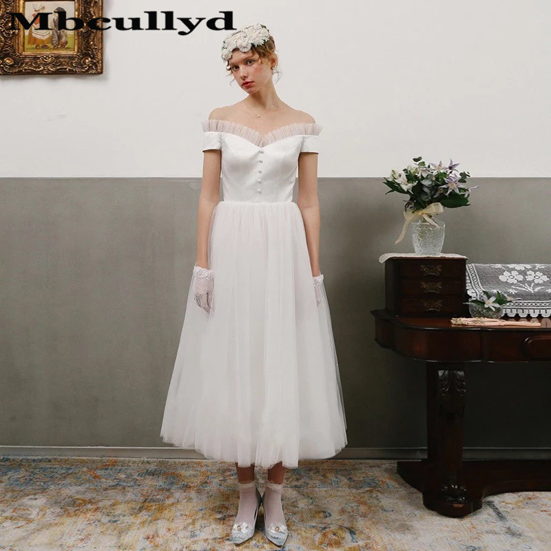 Mbcully Vintage 1950s Tea Length Wedding Dresses 2020 With Ruffled Tulle A-Line White Beach Bridal Gowns Boho Vestidos De Novia