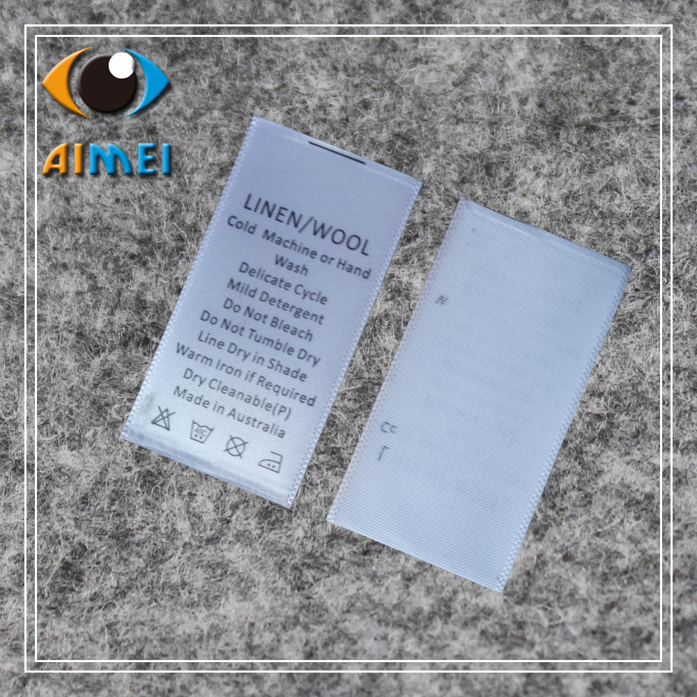 US $70 0 |customized care labels for jecket custom printed silk material  wash label for clothing sewing tags for garment fabric tag-in Garment  Labels