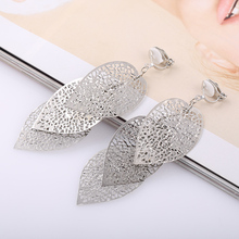 Grace Jun 4 Colors Choose Big 3 Leaf Clip on Earrings Without Piercing for Female Party Fashion Luxury Statement Earrings New