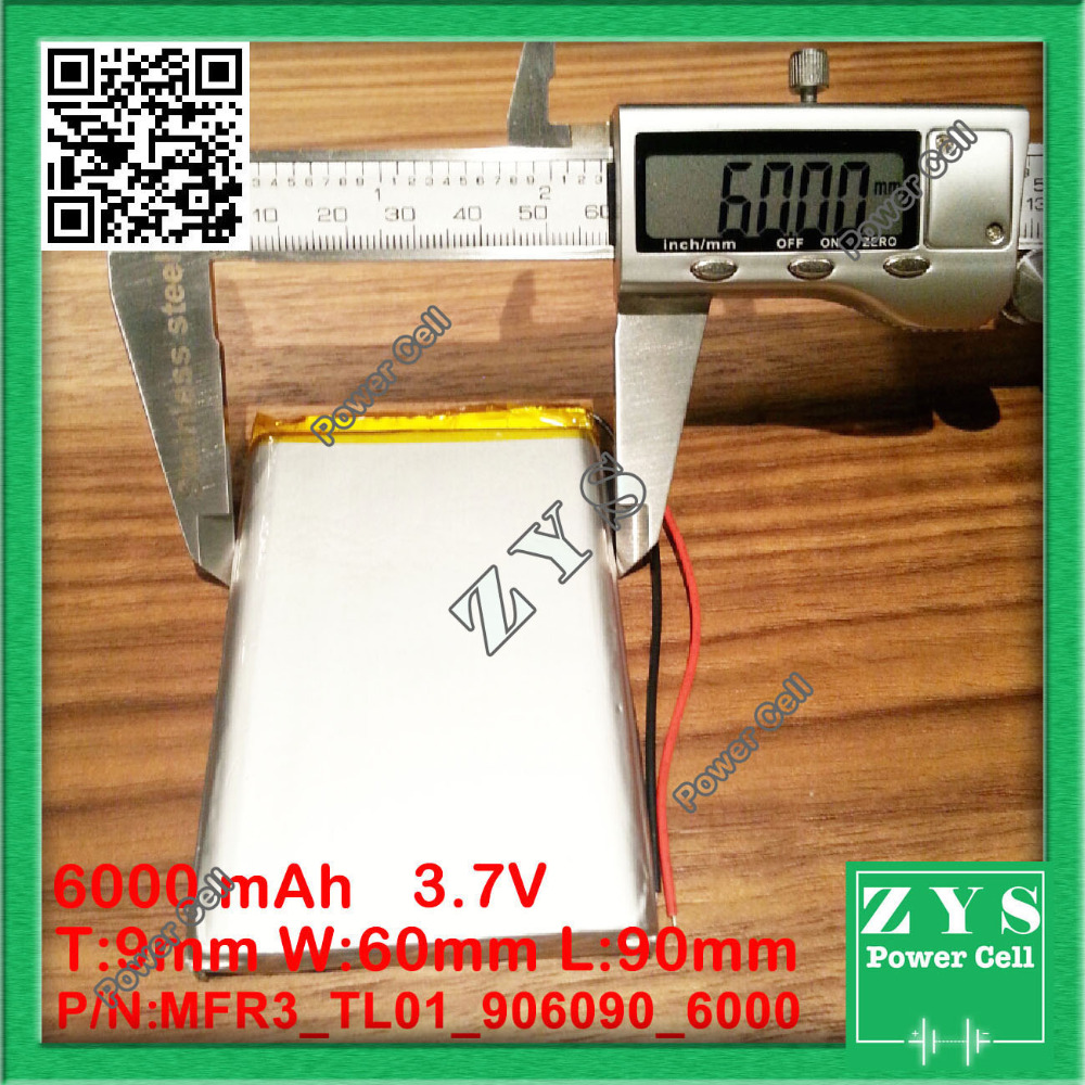 906090 <font><b>3.7V</b></font> <font><b>6000mah</b></font> Lithium polymer <font><b>Battery</b></font> with Protection Board <font><b>For</b></font> PDA <font><b>Tablet</b></font> PCs Digital Products 9x60x90mm 6000 mah image