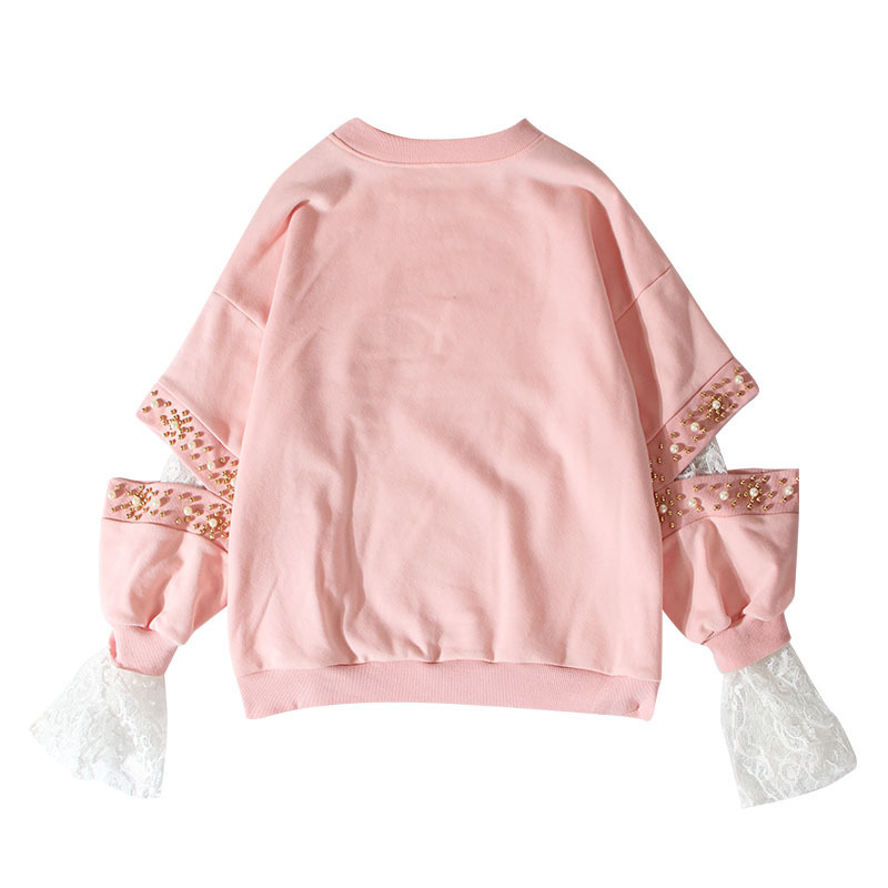Women's Clothing Nice Wqjgr 2018 Autumn Pullovers Women Hoodies Nail Pearl Hollow Out Embroidery Split Joint Lace Cuff Head