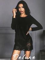 Velvet long sleeve O neck sweater lace dress