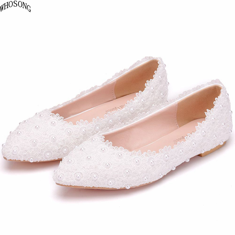 WHOSONG White lace pearl casual womens shoes 2019 Women pointed flat Wedding shoe m36