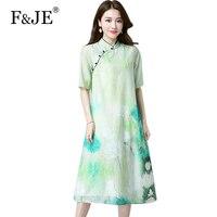 F JE 2018 Summer New Fashion Elegant Slim Women Casual Long Dress High Quality Vintage Print