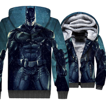 Batman 3D Arkham Knight Hoodie Men Beyond Hooded Sweatshirt Superman Coat Winter Thick Fleece Warm Zip up Cool Jacket