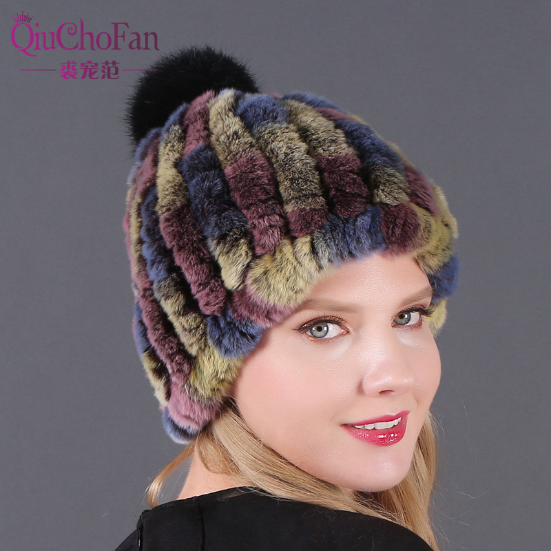 Real Rex Rabbit Hat With Fox Fur Pompoms Hat For Women Thicken Female Fur Caps Ladies Winter Knitted Rex Rabbit Fur Beanies