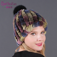 Real Rex Rabbit Hat With Fox Fur Pompoms For Women Thicken Female Caps Ladies Winter Knitted Beanies