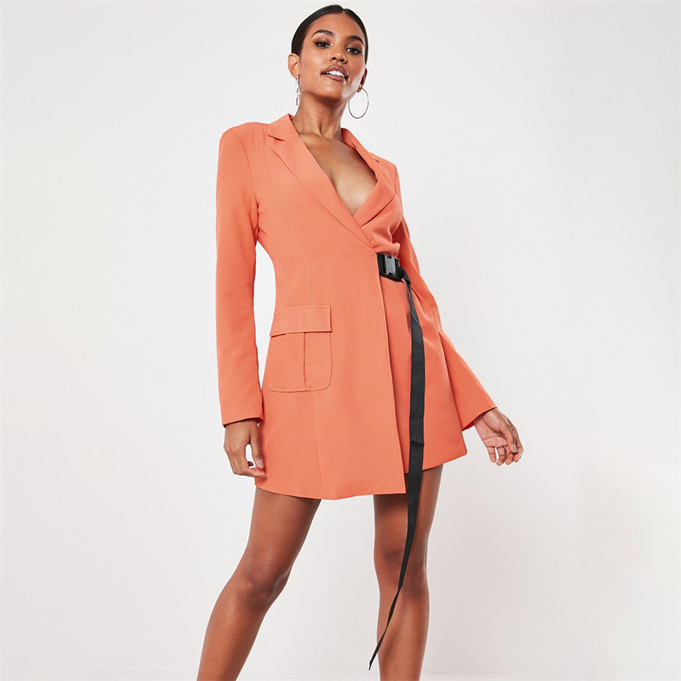 orange-seatbelt-buckle-blazer-mini-dress
