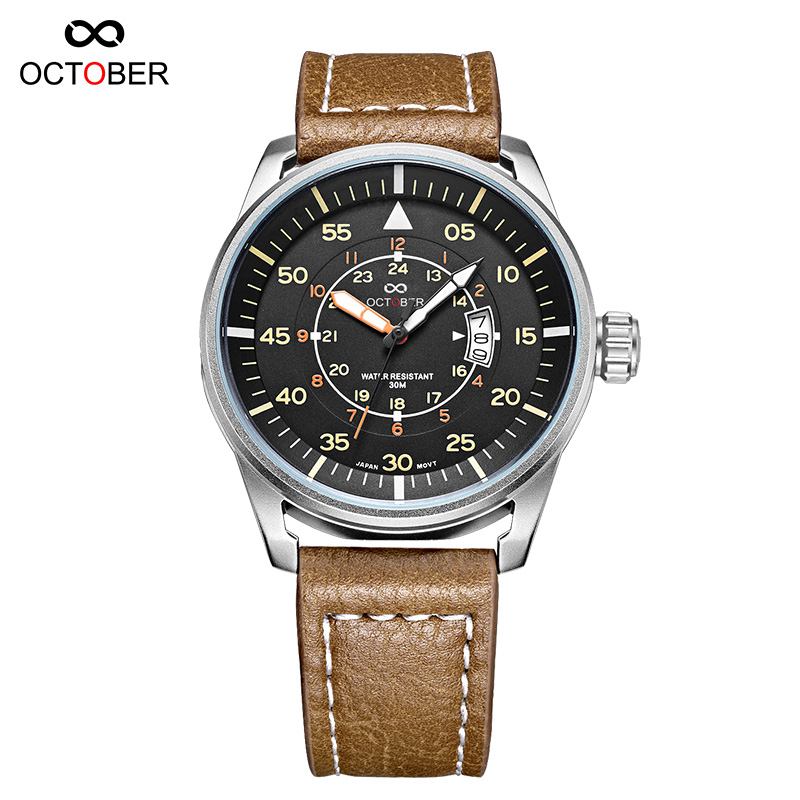 ФОТО pilots series military outdoor sports watches men luxury brand ultra-thin Japan import MIYOTA quartz watch relogio masculino