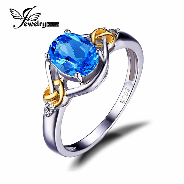 JewelryPalace Love Knot 1.5ct Natural Blue Topaz Diamond Accented Promise Ring 925 Sterling Silver 18K Yellow Gold Women Jewelry