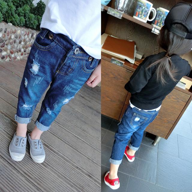 2016 outono nova calça jeans crianças jeans rasgado calças calças dos miúdos das crianças meninas roupas meninos roupas roupas infantis B-BC-K210