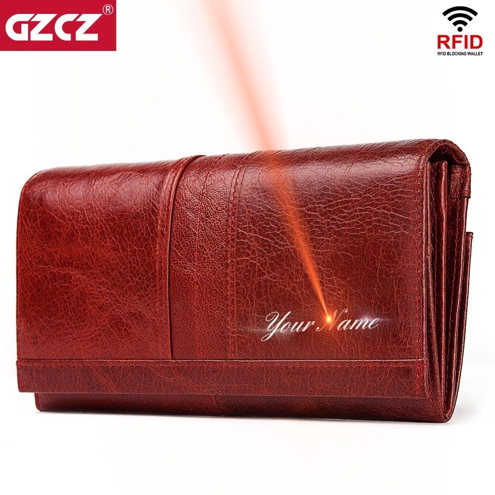 GZCZ Echtem Leder Frauen Mode Kupplung Brieftasche Weibliche Geldbörse Portomonee Clamp Für Telefon Tasche Lange Dame Handliche Karte Halter