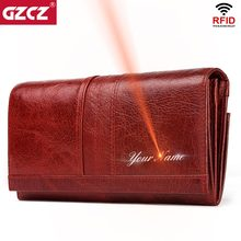 GZCZ Genuine Leather Women Fashion Clutch Wallet Female Coin Purse Portomonee Clamp For Phone Bag Long Lady Handy Card Holder(China)