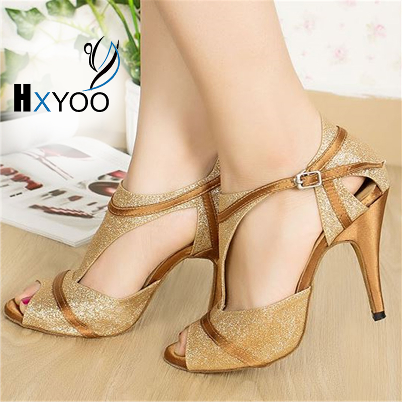 HXYOO Glitter T strap Women Latin Dance font b Shoes b font Gold Ballroom Dance font
