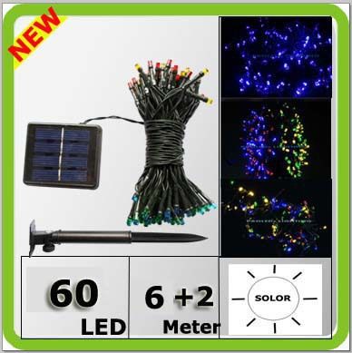 Besplatna dostava solarnih 60 vodio božićno svjetlo odmor svjetla LED žice festival 12meters šarene bijelo žute crvene plave