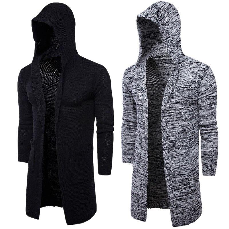 Printemps Long tricot Cardigan à capuche manteau pour hommes ouvert avant chandail tricoté mâle veste Trench manches longues grande taille printemps 2019