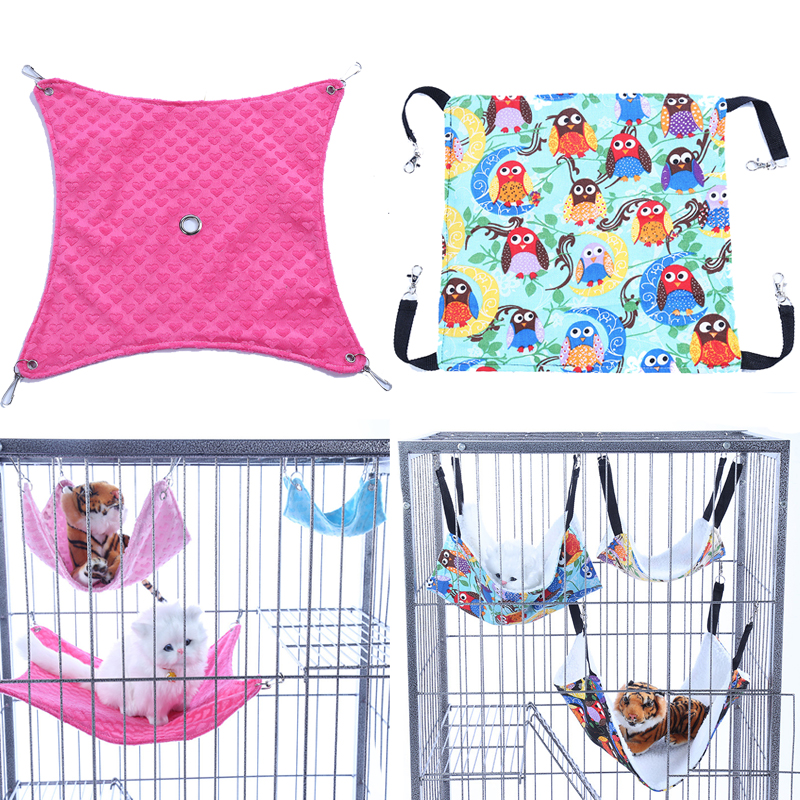 Warm Flannel Hamster Chinchilla Embossed Owl Printed Hammock Guinea Pig Rabbit Hanging Bed Cage Accessories Pet Doggyzstyle