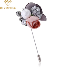 XIYANIKE New Jewelry Silver Color Pin with Rhinestone Simulated Pearl Colorful Lace Flower Brooch for Women Accessories JBSW33