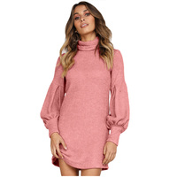 2019 Women Mini Dress Dusty Pink Black Corduroy Ribbed High Neck Lantern Sleeve Slim Autumn Winter Solid Casual Brief Dresses