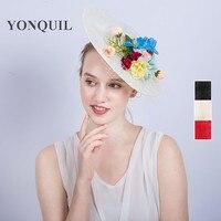 Vrouwen Zijde bloem top hoeden 30 CM grote kant hoeden party gelegenheid hoed fascinators met veils decoratie clip wedding hoofddeksels SYF223