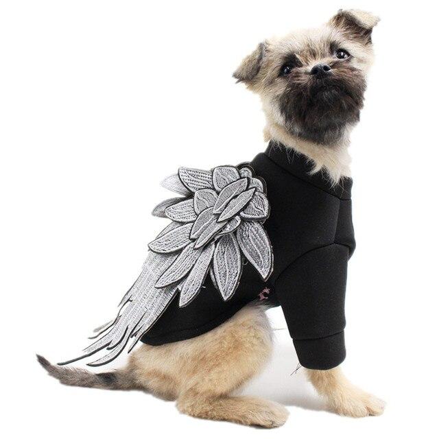 Us 997 22 Offbestickte Welpen Kleidung Mode Hund Hoodie Mit Flügel Für Malteser Hund Mops Yorkshire Weiche Sky Baumwolle Hund Kostüme In