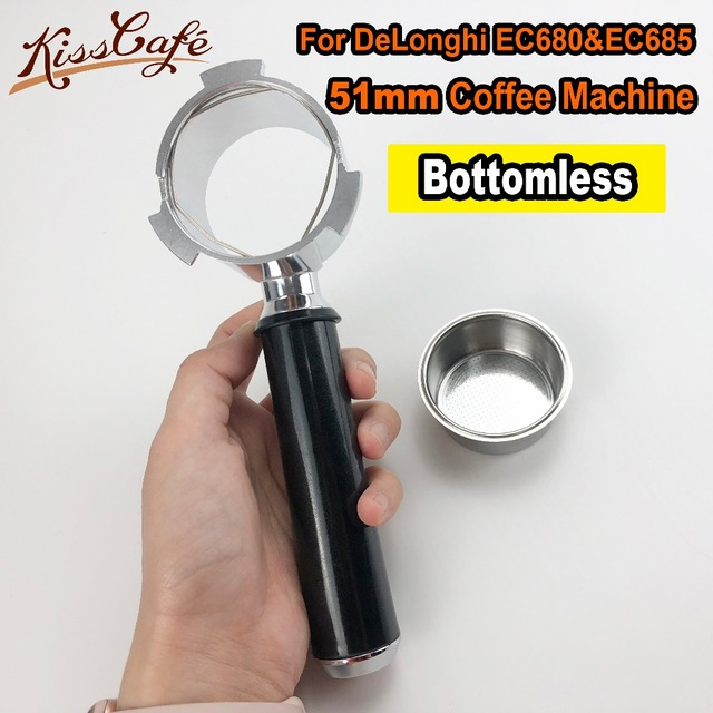 For DeLonghi EC680 EC685 Stainless Steel Coffee Machine Bottomless Filter Holder Portafilter Handle Single Cup Barista Tool