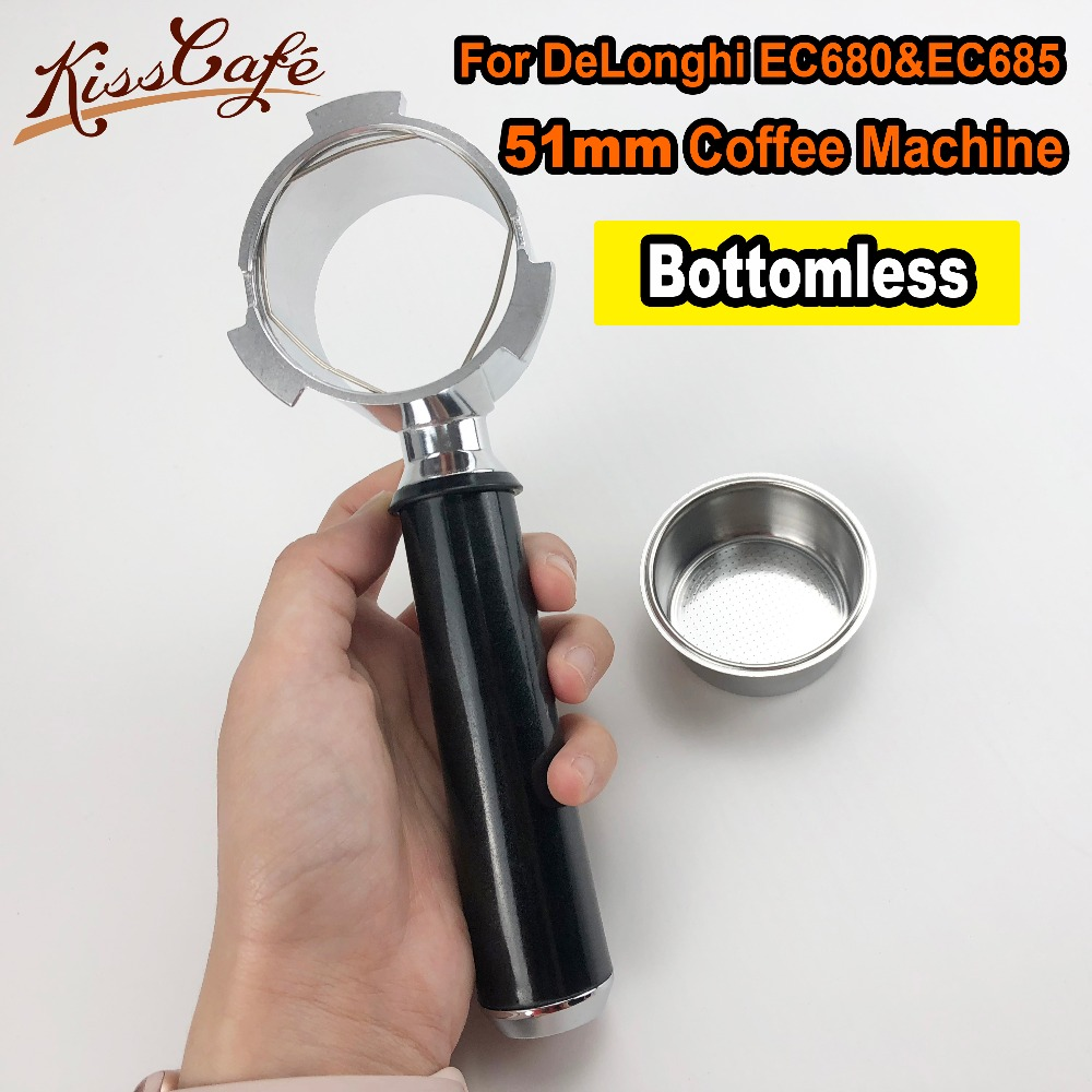 Portafilter For DeLonghi EC680 EC685 Stainless Steel Coffee Machine Bottomless Filter Holder Handle Single Cup Barista Tool