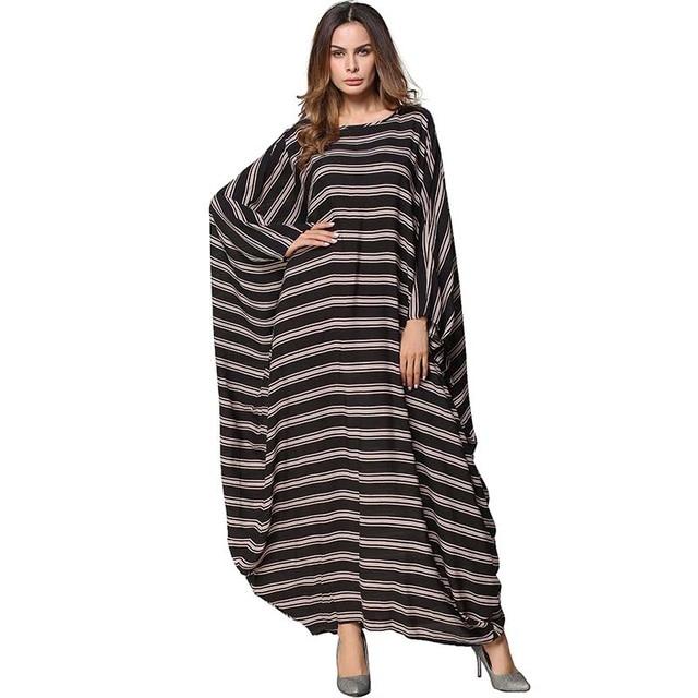 beded4fc81a Babalet Womens  Modest Muslim Islamic Clothing Loose O-Neck Stripe Full  Length Batwing Long Sleeve Abaya Dubai Dress Plus Size