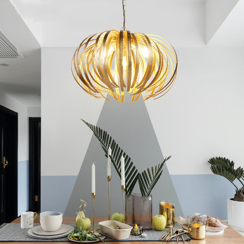 European Gold Pendant Lights Fashion Iron Home Deco Creativity Light Fixtures Living Room Dinning Room Restaurant Designer Lamps