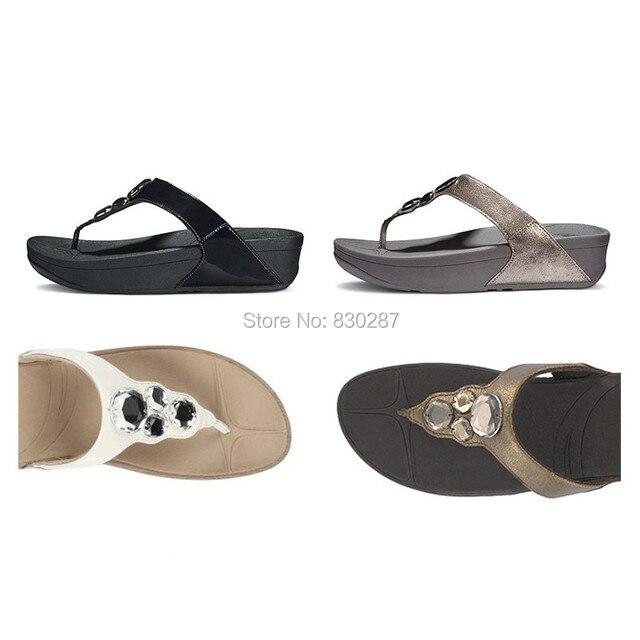 a2539efcdea6a1 wholesale women flip flops lunetta thong sandals diamonds cheap fashion  brand wedges ladies slides Black
